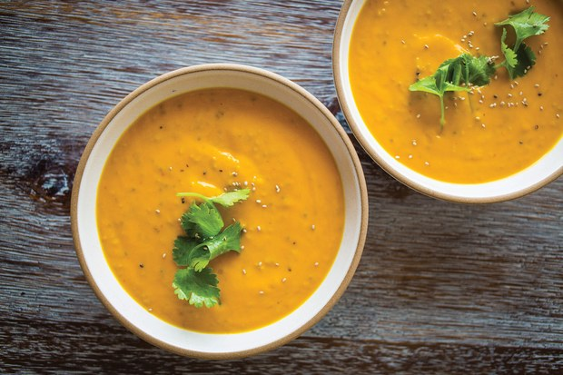 add chia seeds to any soup, like this coconut carrot ginger soup from Epicurious