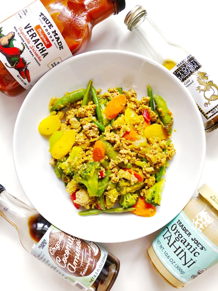 spicy creamy healthy stir fry with veggie sriracha and tahini